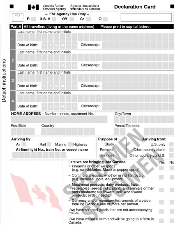 前往加拿大房车自驾-加拿大海关入境申报单
