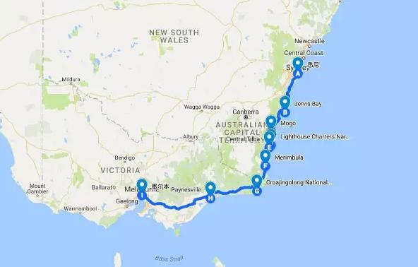 悉尼-墨尔本房车自驾路线