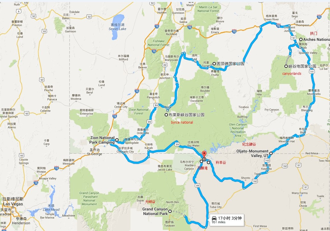 美国国家公园营地地图