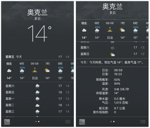 苹果手机自带的天气软件