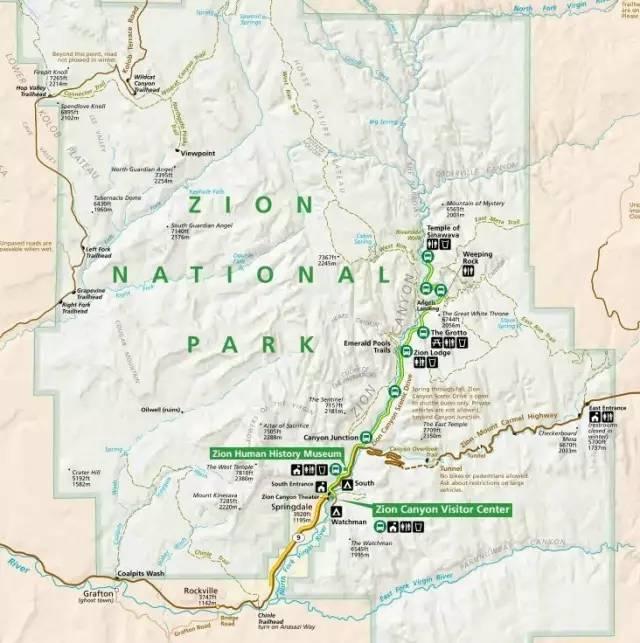 锡安国家公园地图