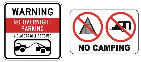 禁止房车过夜的标志