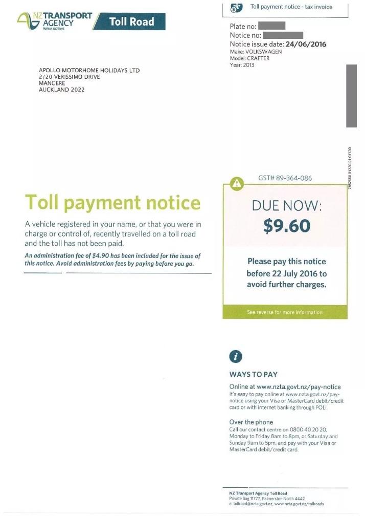 停车罚单新西兰房车自驾
