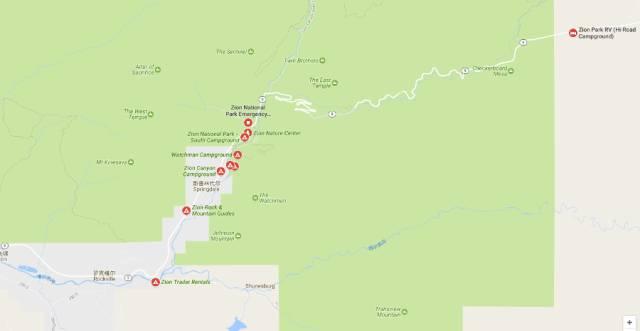 锡安国家公园营地分布