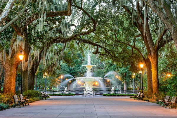 Forsyth Park is just one of Savannah's beautiful green spaces.