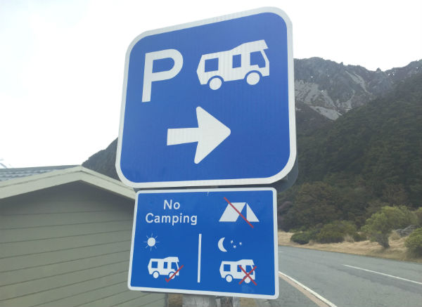 Always adhere to posted signs when freedom camping in a New Zealand campervan hire, or you may end up with a nasty fine.
