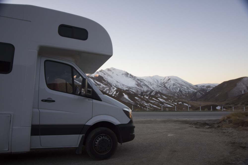 En camping-car en Nouvelle-Zélande