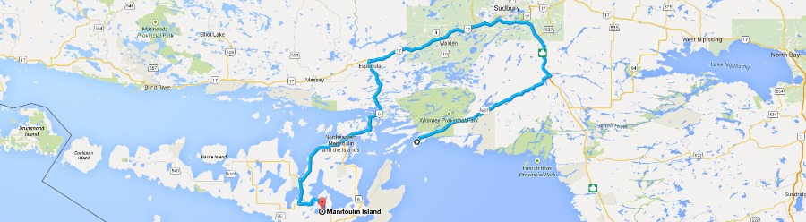 Killerney to Manitoulin map
