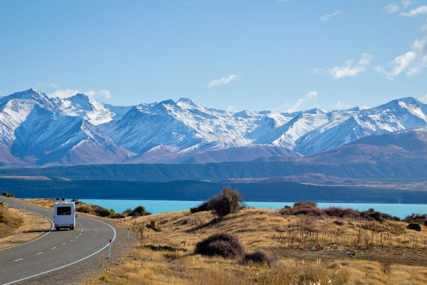 Lake Pukaki glows with a uniquely beautiful milky blue sheen.