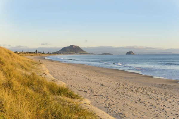 Mount Maunganui, the town adjacent to Tauranga, is renowned for its beautiful golden sand beaches.