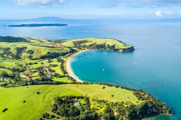 Shakespear Regional Park with Tiritiri Matangi Island behind