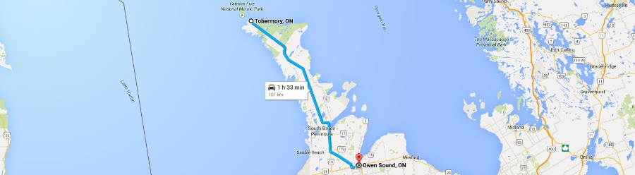 Tobermory to Own Sound map