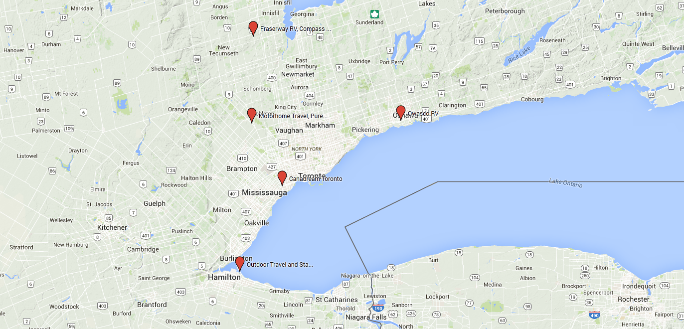 Toronto RV Rental depot map