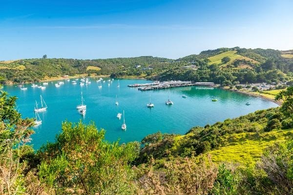 Boats anchored peacefully in Matiatia Bay, Waiheke