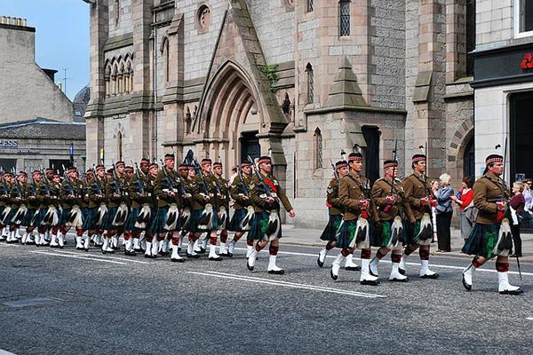 Soldiers march in Aberdeenshire, Aberdeen, Scotland