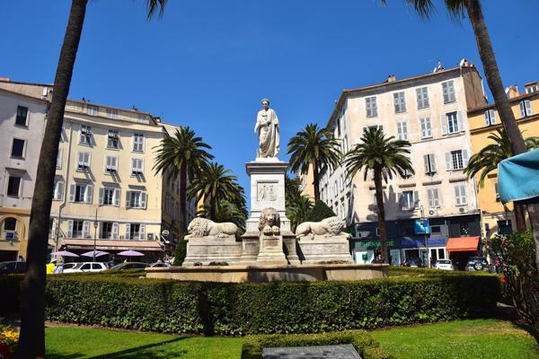 A monument to Napoleon Bonaparte stands tall on the streets of Ajaccio, France