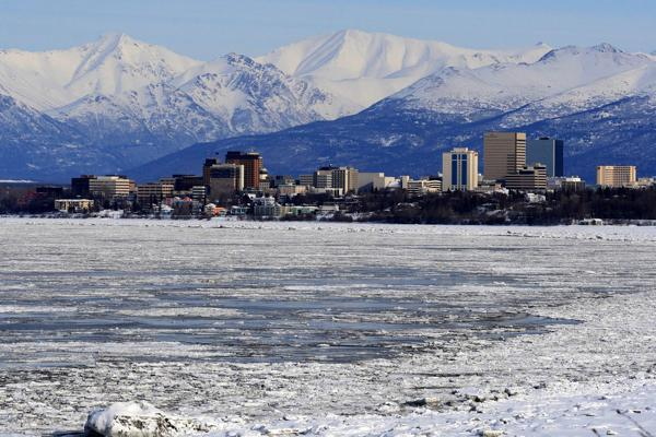 Downtown Anchorage emerges from the wintry Alaskan landscape