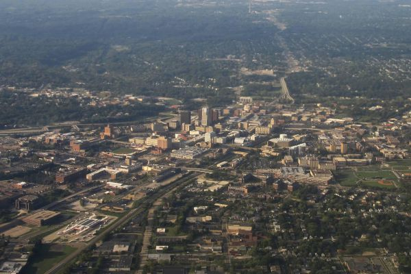 View over the city of Akron from the plane.