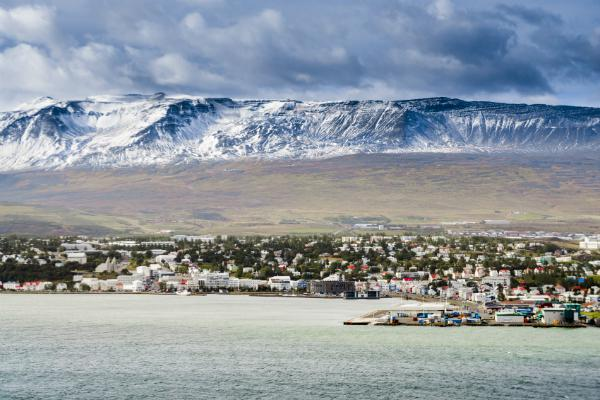 Akureyri is backed by beautiful mountains