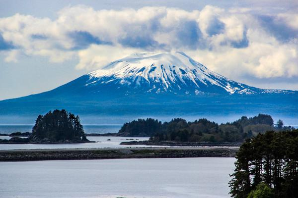 Mount Edgecombe standing tall in Sitka, Alaska