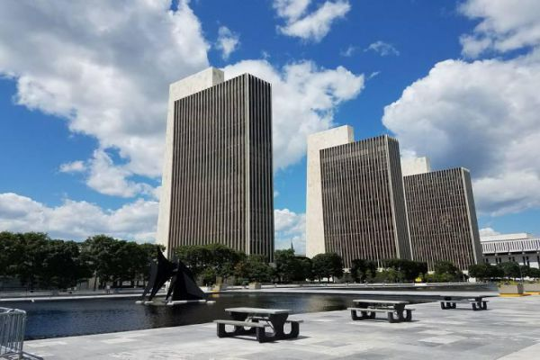 The capitol building is part of the Empire State Plaza complex on State Street in Albany.