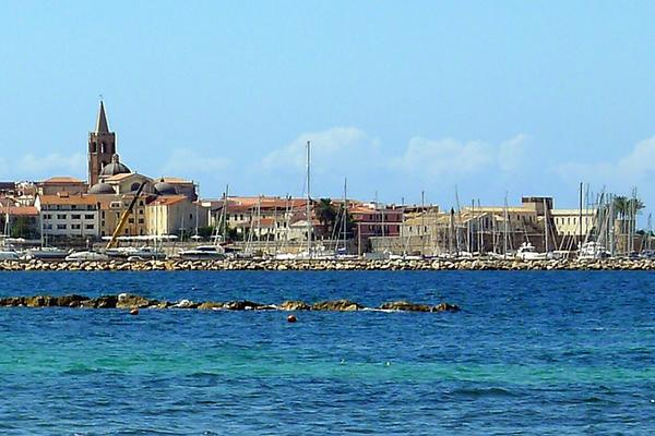 The seascape of Old Town in Sardinia's Alghero