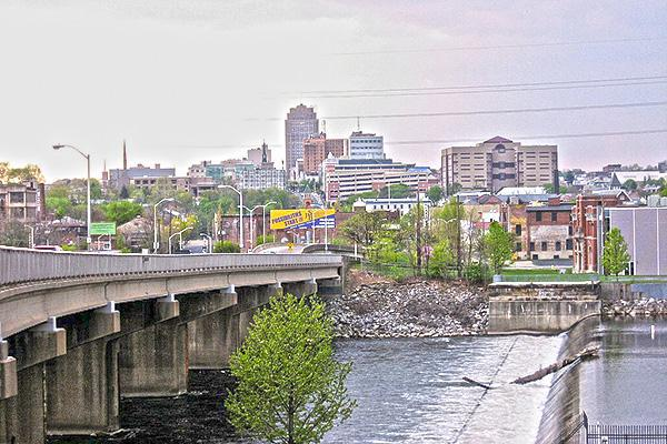 View of Allentown, Pennsylvania across the bridge from the east side of the river