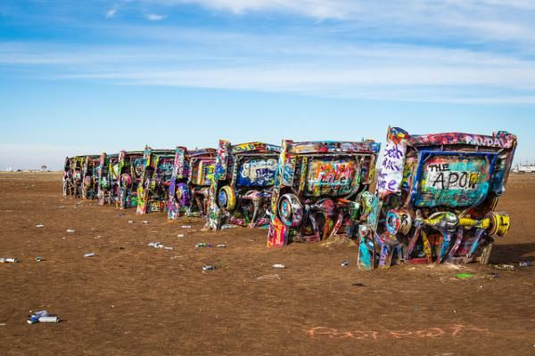 The Cadillac ranch in Amarillo on the historic Route 66.
