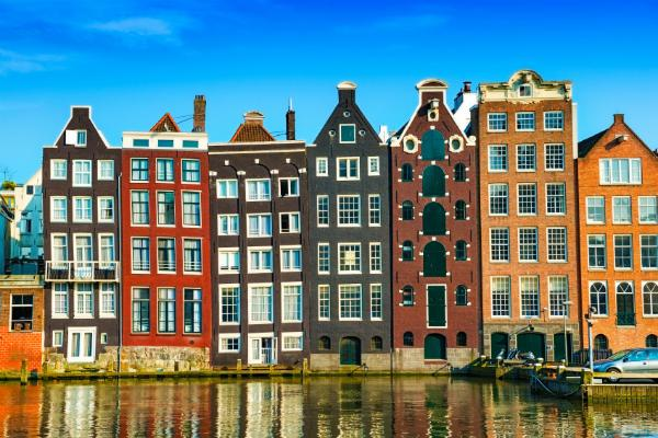 The narrow canal houses of Amsterdam are full of character