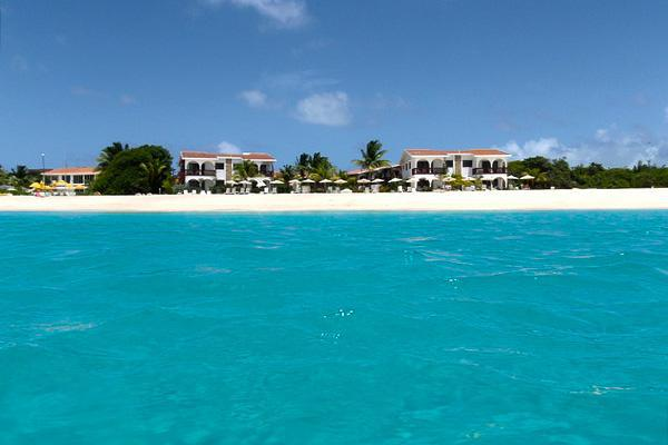 Resorts line the white sand beaches of the tropical island of Anguilla