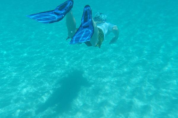 A snorkeller dives through the emerald blue waters of tropical Anguilla in the Caribbean