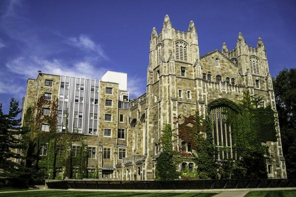 The historic buildings at the University of Michigan stand proudly in Ann Arbor, Michigan