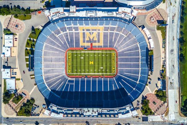 An aerial view of University of Michigan football stadium in Ann Arbor, Michigan