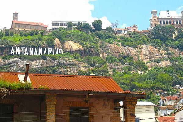 Antananarivo sign with the Rova in the upper right