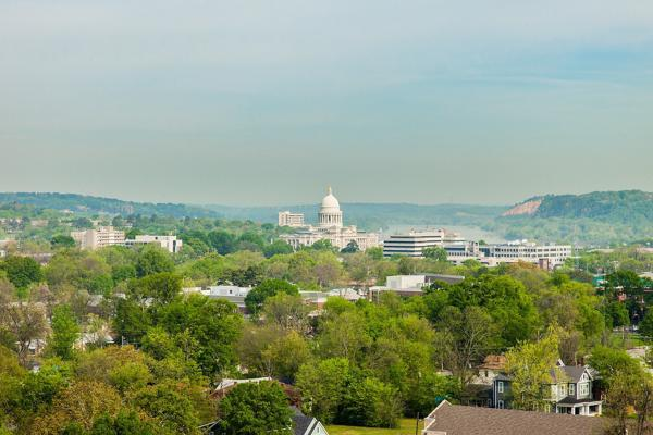 The Capitol Building emerges from a sea of green trees in Little Rock, Arkansas