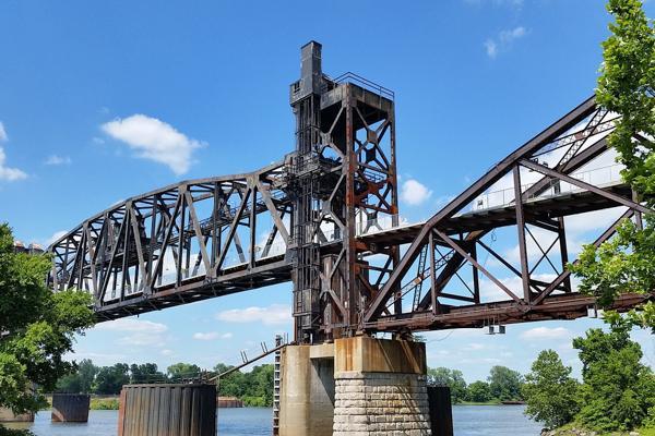 The Rock Island Bridge rises to let a boat pass under in Little Rock, Arkansas