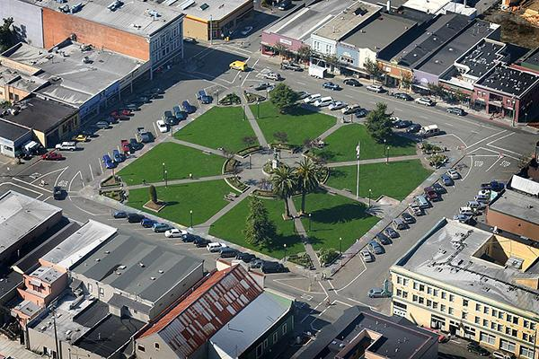 An aerial view of the Arcata Plaza in Arcata, California