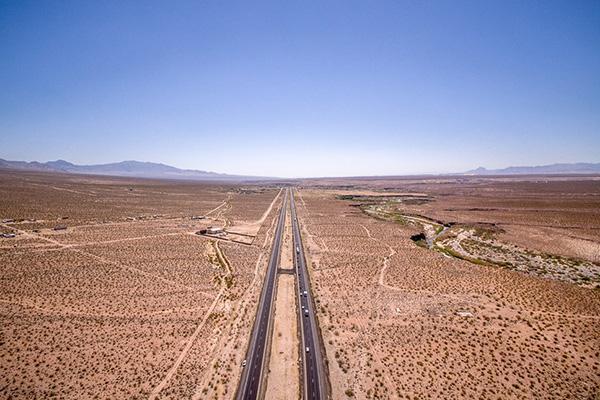 Aerial view of arid Arizona in Yuma desert region