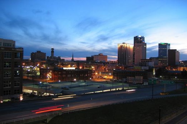 View over the skyline of Little Rock from the River Market parking deck.