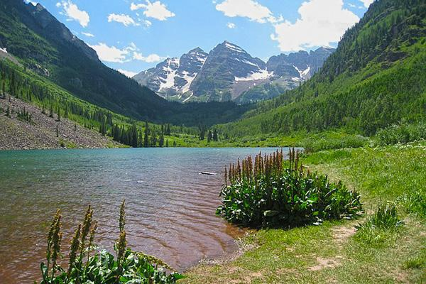 A lake is framed by lush greenery and the peaks of Maroon Bells, in the Elk Mountains of Colorado
