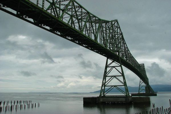 The Astoria-Megler Bridge towers over the western end of Astoria