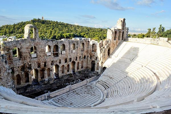 The famous Acropolis Theatre on a beautiful day in Athens, Greece