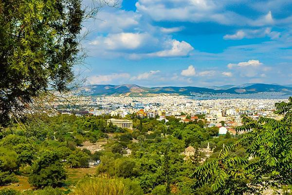 View of the city of Athens, Greece from a high vantage point