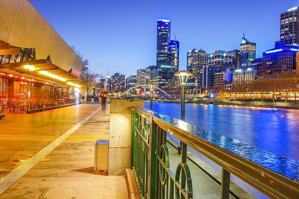 Bright lights illuminate the Melbourne cityscape