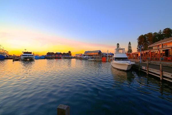 The port of Fremantle at sunset, near Perth, Western Australia