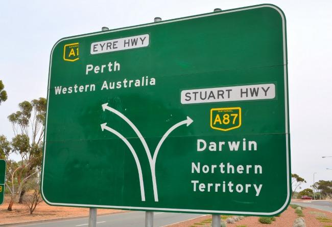 Australia directional road sign