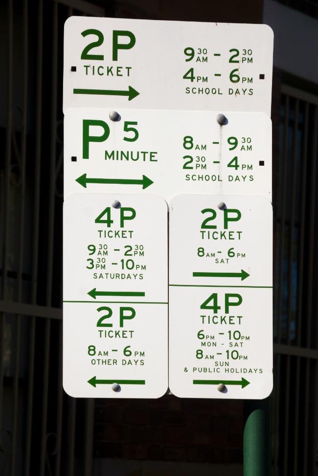 parking sign, australia