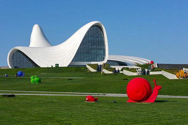 The uniquely designed Heydar Aliyev Center and colourful art pieces attract the eye in Baku, Azerbaijan