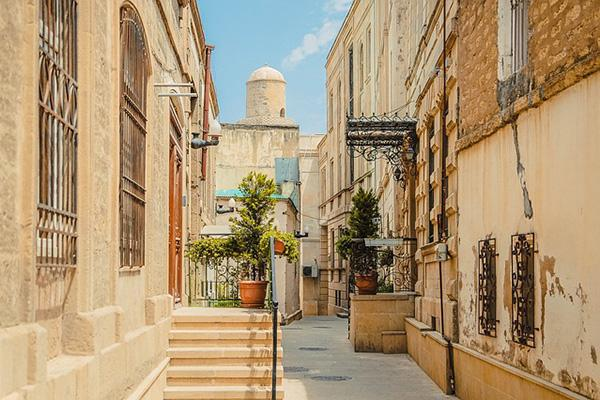 Ancient architecture characterise the streets of Baku, Azerbaijan