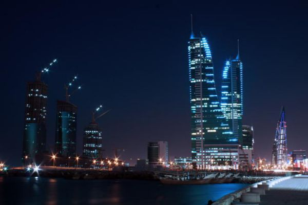 The skyscrapers of Kingdom of Bahrain at night